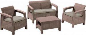 Набор уличной  мебели (скамья двухместная,два кресла ,столик) CORFU II SET-capcno-std  капучино
