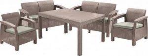 Набор уличной мебели (две двухместные скамьи ,стол, два кресла) CORFU II FIESTA, капучино