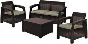 Набор уличной мебели (скамья двухместная,столик , два кресла) CORFU II BOX WIKBRW  Коричневый